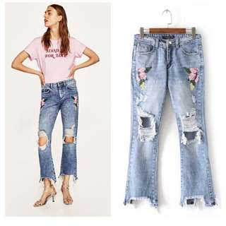 Flower Embroidery Ripped Jeans