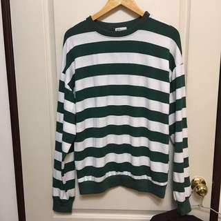 寬鬆綠白條紋T