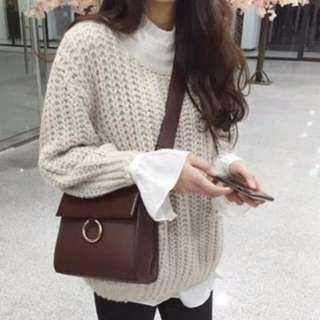 INSTOCK Leather Shoulder Messenger Bag Small Korean Ulzzang Style