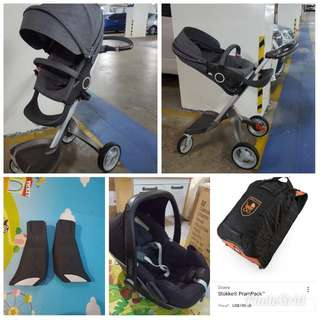 Preloved Stokke Xplory, Pram pack, Maxi Cosi Pebble And Carseat adapter