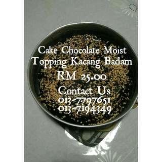 Cake Chocolate Moist Topping Badam