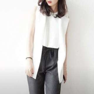 White Straight Sleek Cut Vest with Front Pockets