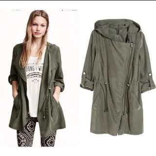 hm army green waterfall parka