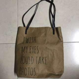 Brown paper tote bag