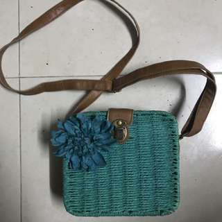 Turquoise summer wicker sling bag
