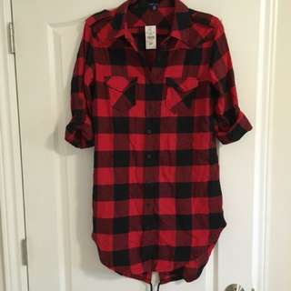 Long Black and Red Plaid, Never Worn!