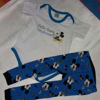 Disney Baby Mickey Mouse Onesie And Busha Pants
