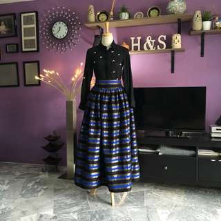 Sale!!! Black Blue Stripe Skirt