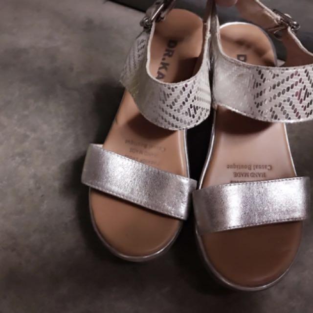二手厚底羅馬銀色木底羅馬涼鞋