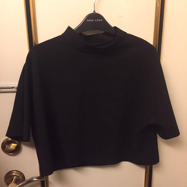 復古小高領黑色短版上衣
