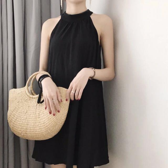削尖黑色氣質洋裝