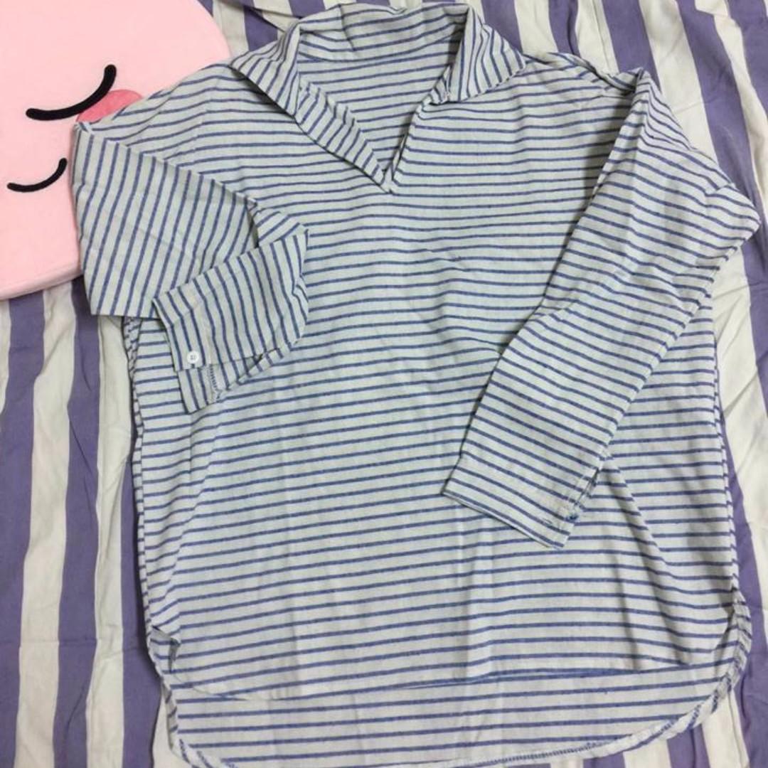 淺藍條紋棉麻立領七分袖上衣