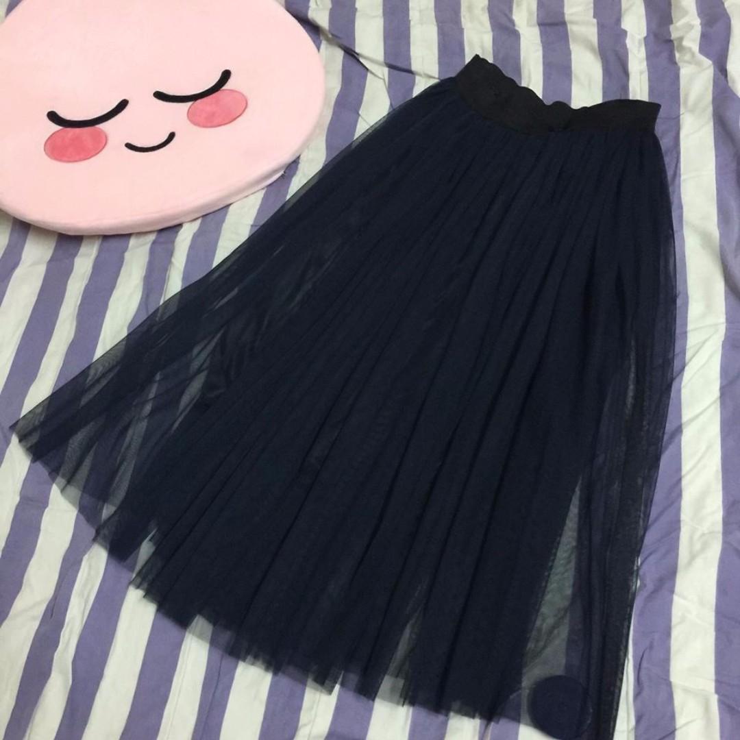 深藍蕾絲面鬆緊腰長裙
