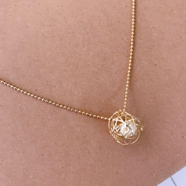 全新 亂線圈珍珠短項鍊