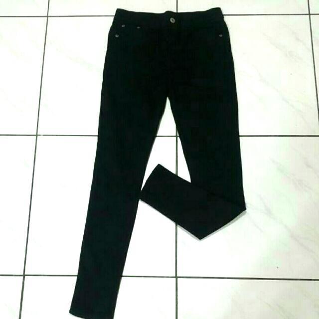 💖 黑色彈性窄管褲