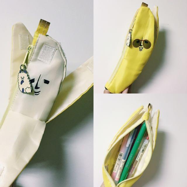 香蕉 筆袋 鉛筆盒 日貨 二手 使用痕跡