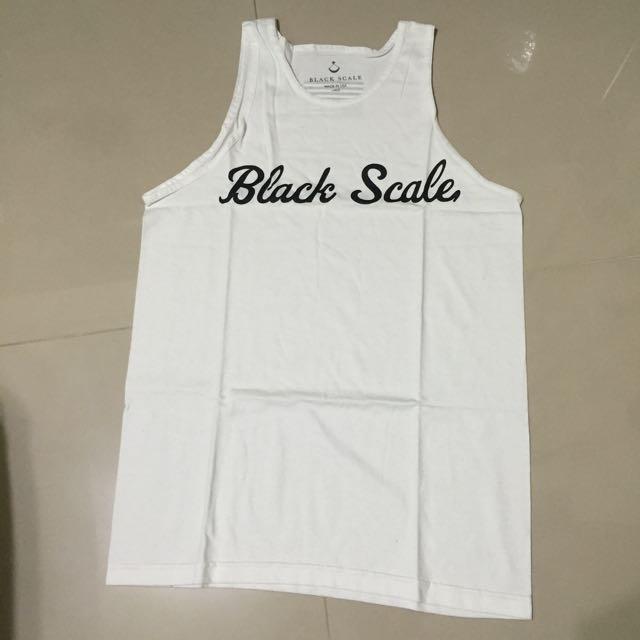 時尚 美牌 滑板 BLACK SCALE LOGO 白 背心