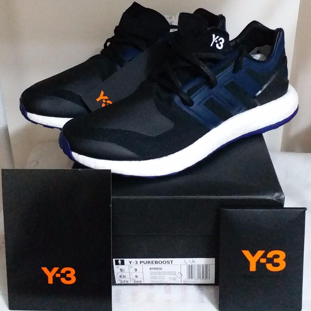 87fb14aa3 全新Brand New Y-3 Pure Boost Black Blue 黑藍BY8956 US9.5 UK9 EU43.3 ...