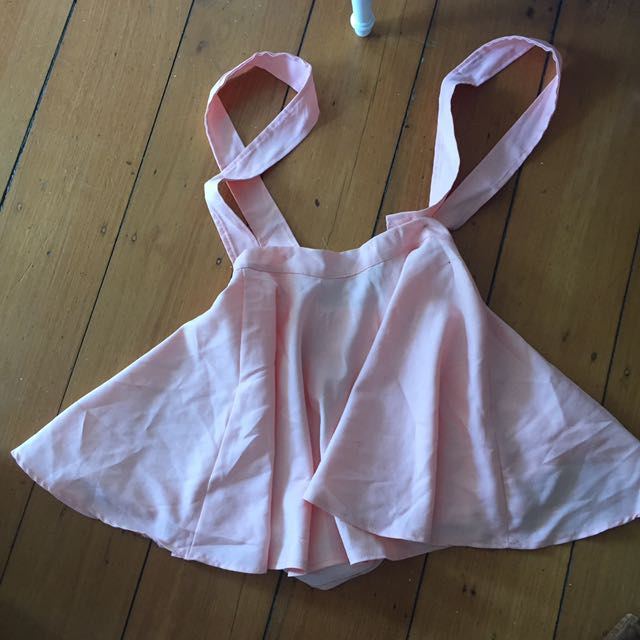 Adorable Baby Pastel Pink Skater style skirt suspenders overall