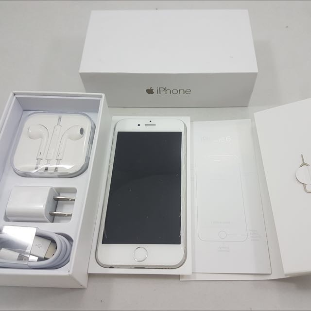 Apple iPhone 6 128gb White/Silver Factory Unlocked Openline Complete Package