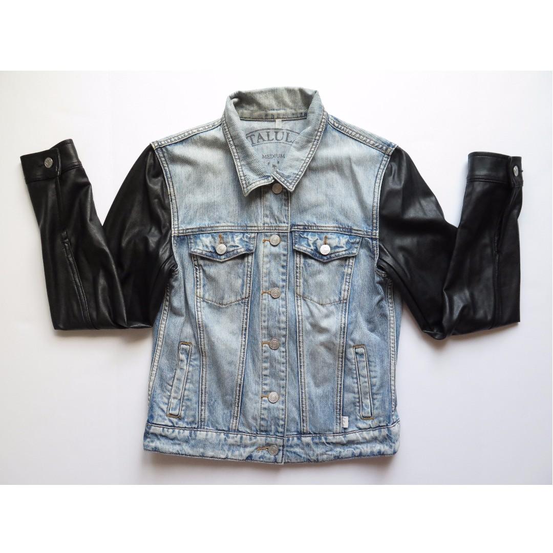 Aritzia Talula HARLEM Denim Jacket W/ Leather Sleeves Sz M