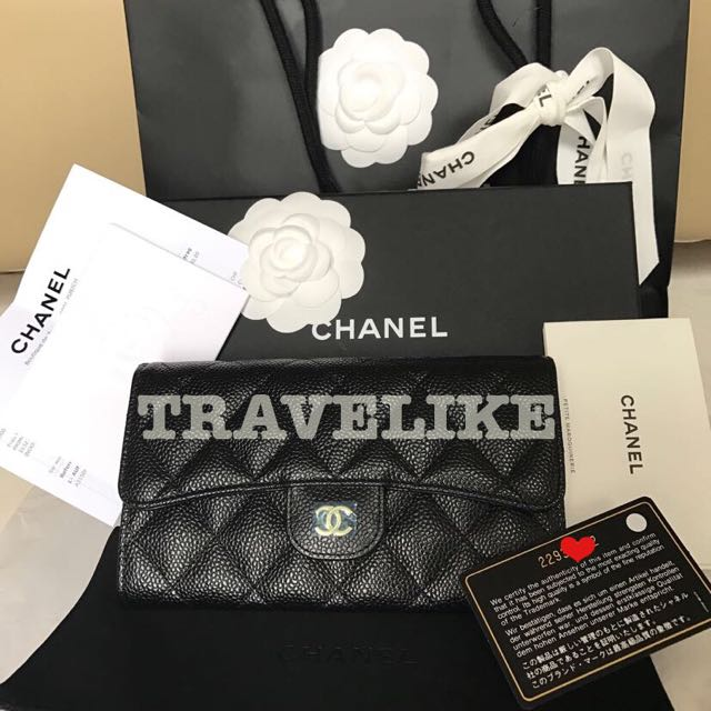 Authentic Chanel Trifold Caviar Wallet