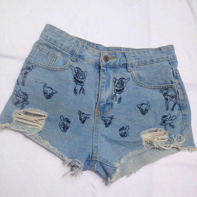 Bambi hand embroider Pants Sz M