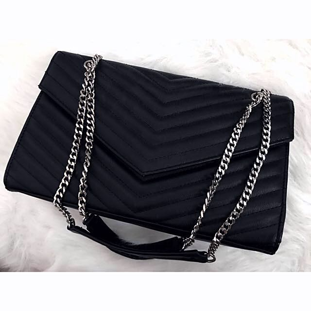 Black Chevron Chain Strap Flap bag