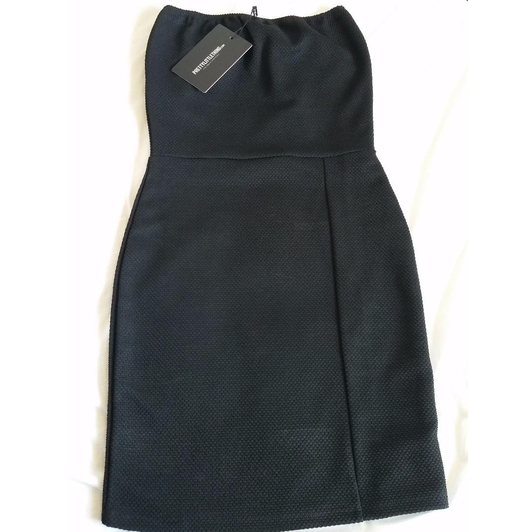 Black textured bodycon dress