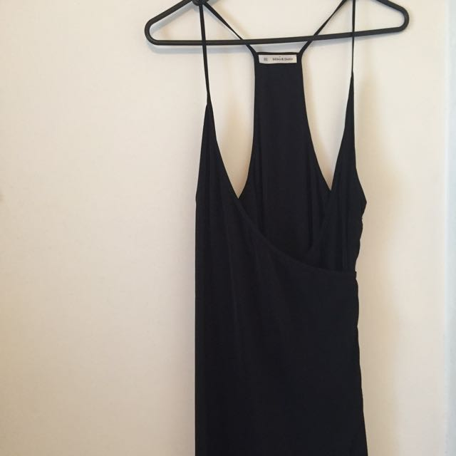 Black thigh split dress