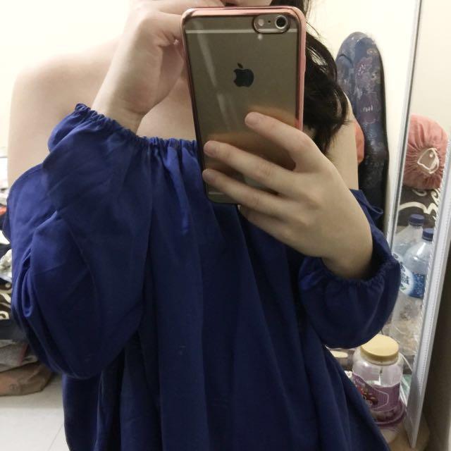 Blue electric sabrina top