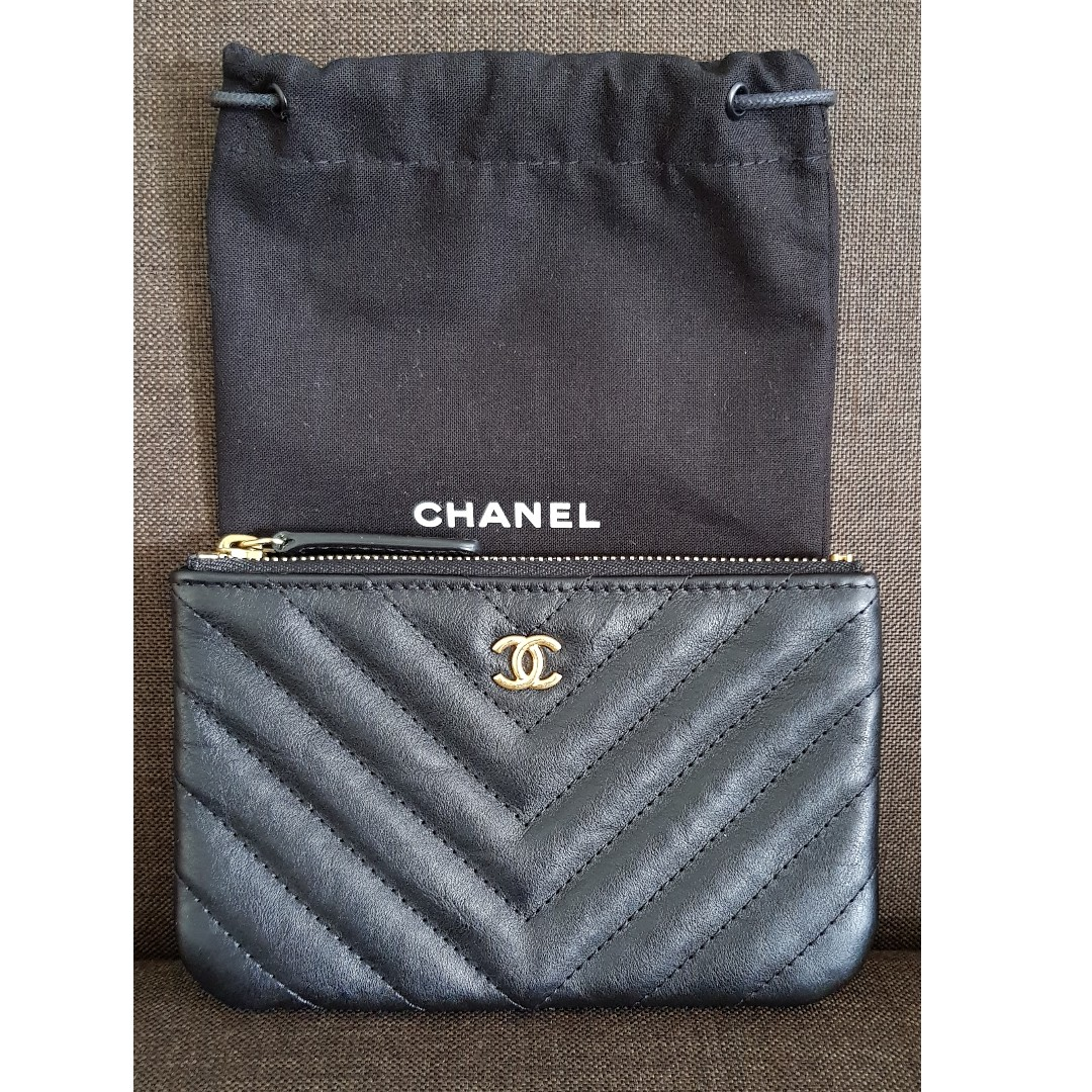 BNIB Chanel Small O Case Pouch in Chevron Distressed Black Calfskin ... 4110c371f2