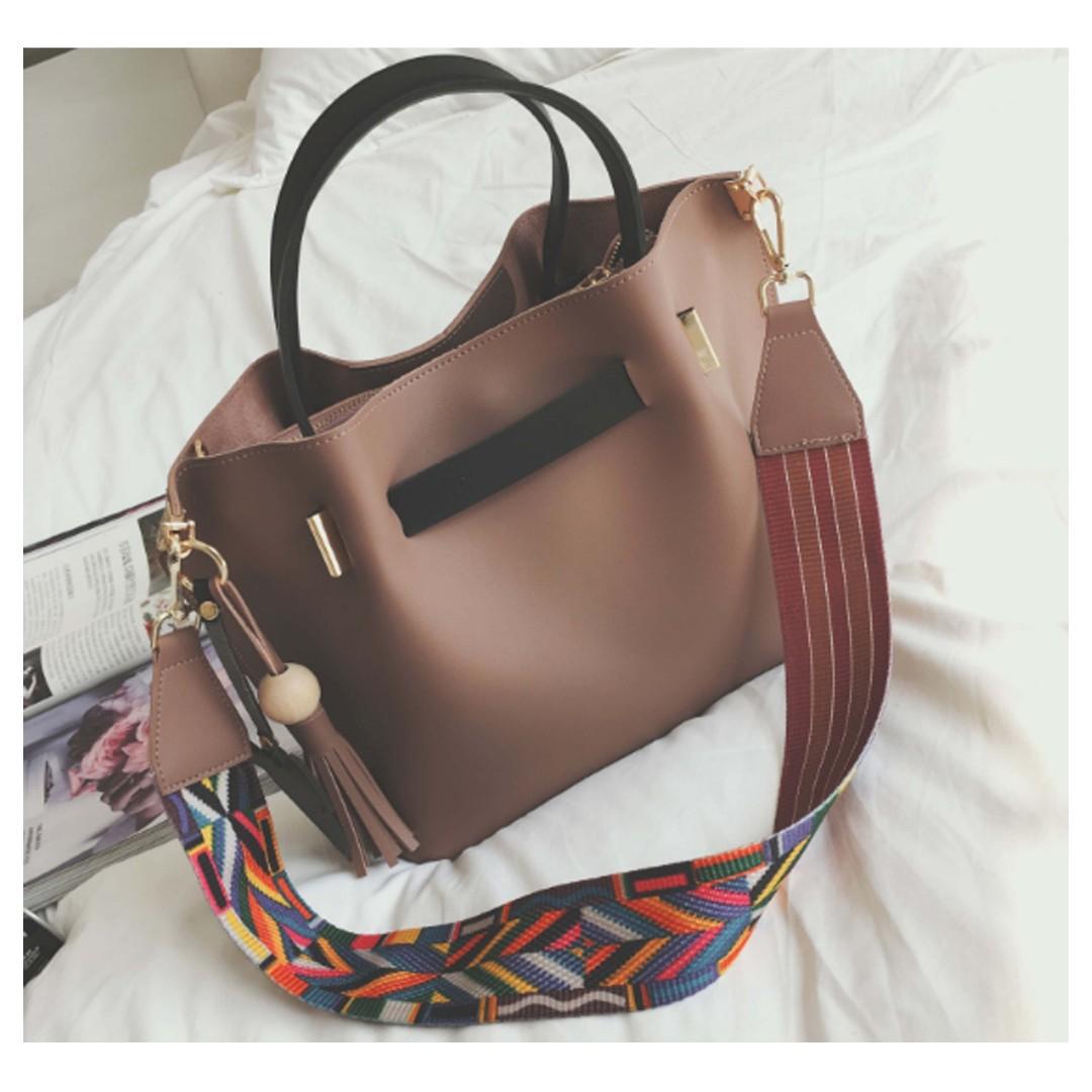 Brand New 2-in-1 Tribal Bucket Bag with Sling Bag Bag Charm and Tassels / Tote Bag / Shoulder Bag / Retro Bag / Minimalist Bag