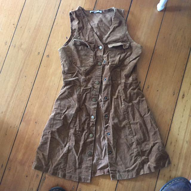 Brown tan corduroy button up dress