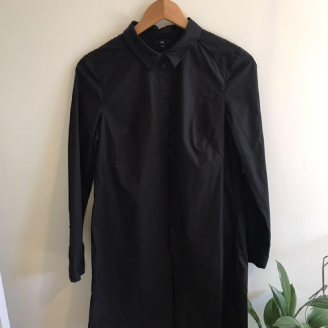 CUE Black Shirt Dress (size 10)