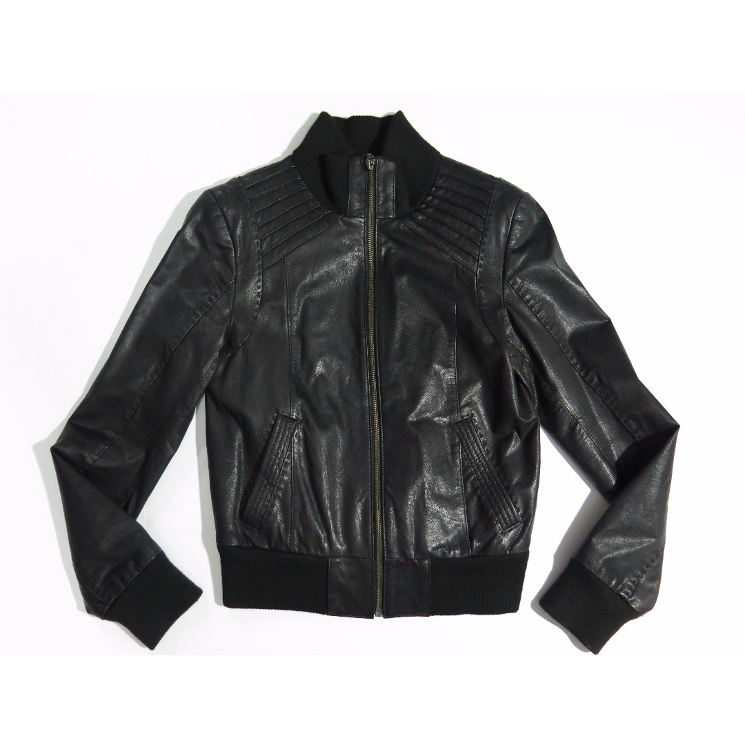 Danier Black Leather Bomber Jacket Sz XS
