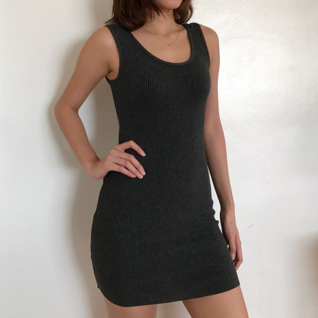 Dark Gray Ribbed Dress