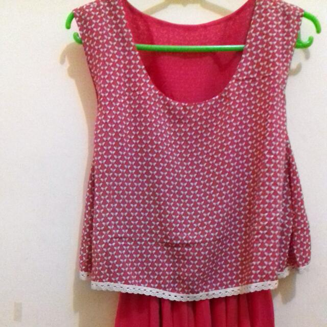 Dress Midi Pink Chiffon