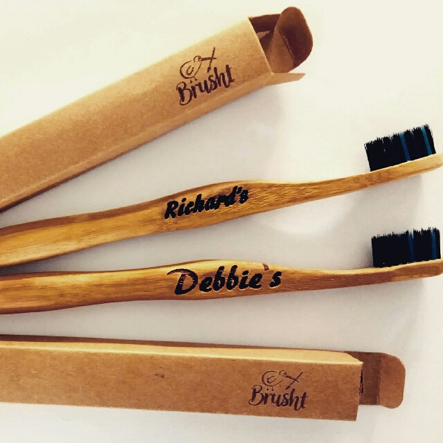 Engraved bamboo toothbrushes
