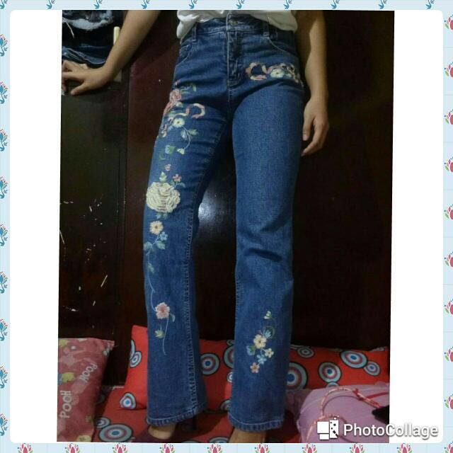 Flared Pants With Floral Patch