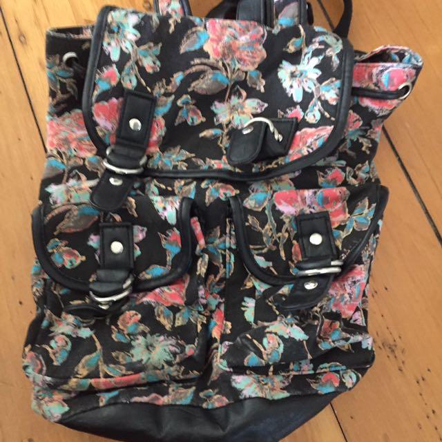 Floral Black Bag Backpack
