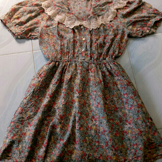 Floral dress above the knee