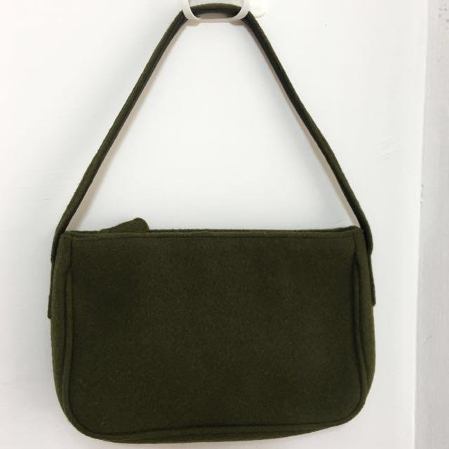 G2000 墨綠色毛料手提包