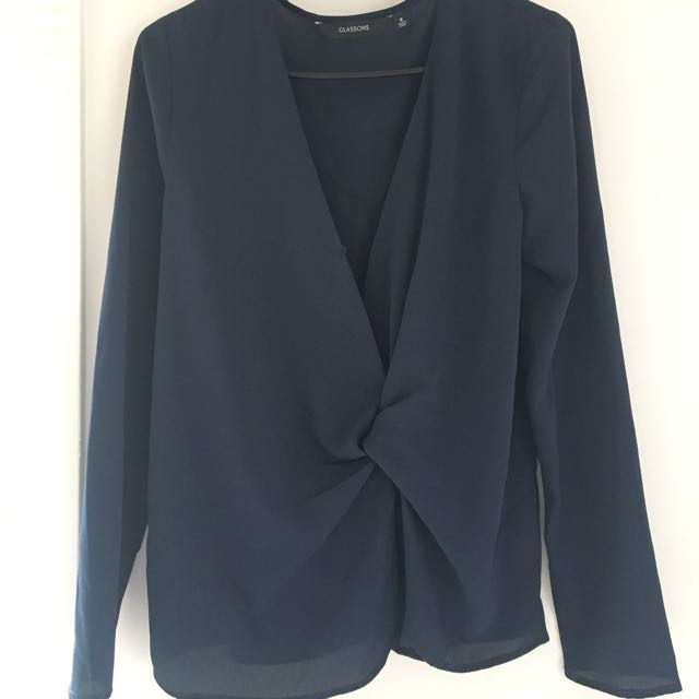 GLASSONS Navy Wrap Top