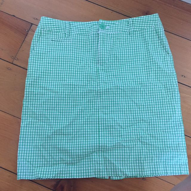Green gingham gorgeous pencil skirt Laura Ashley never worn size 10