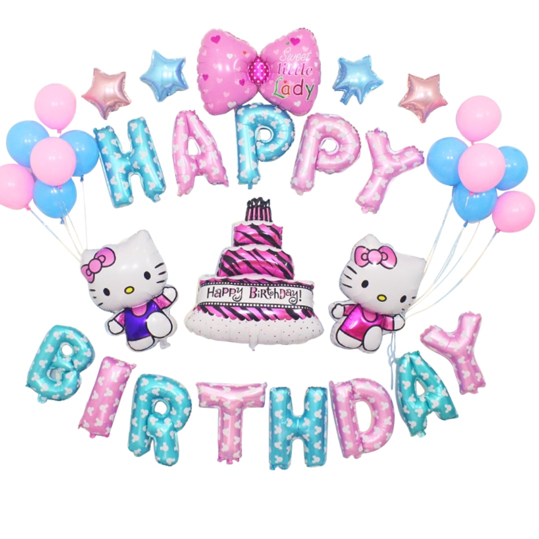 Happy Birthday Balloon Set First 1st Month Baby Hello Kitty Cake Mickey Minnie Unicorn Pony Design Craft Others On Carousell