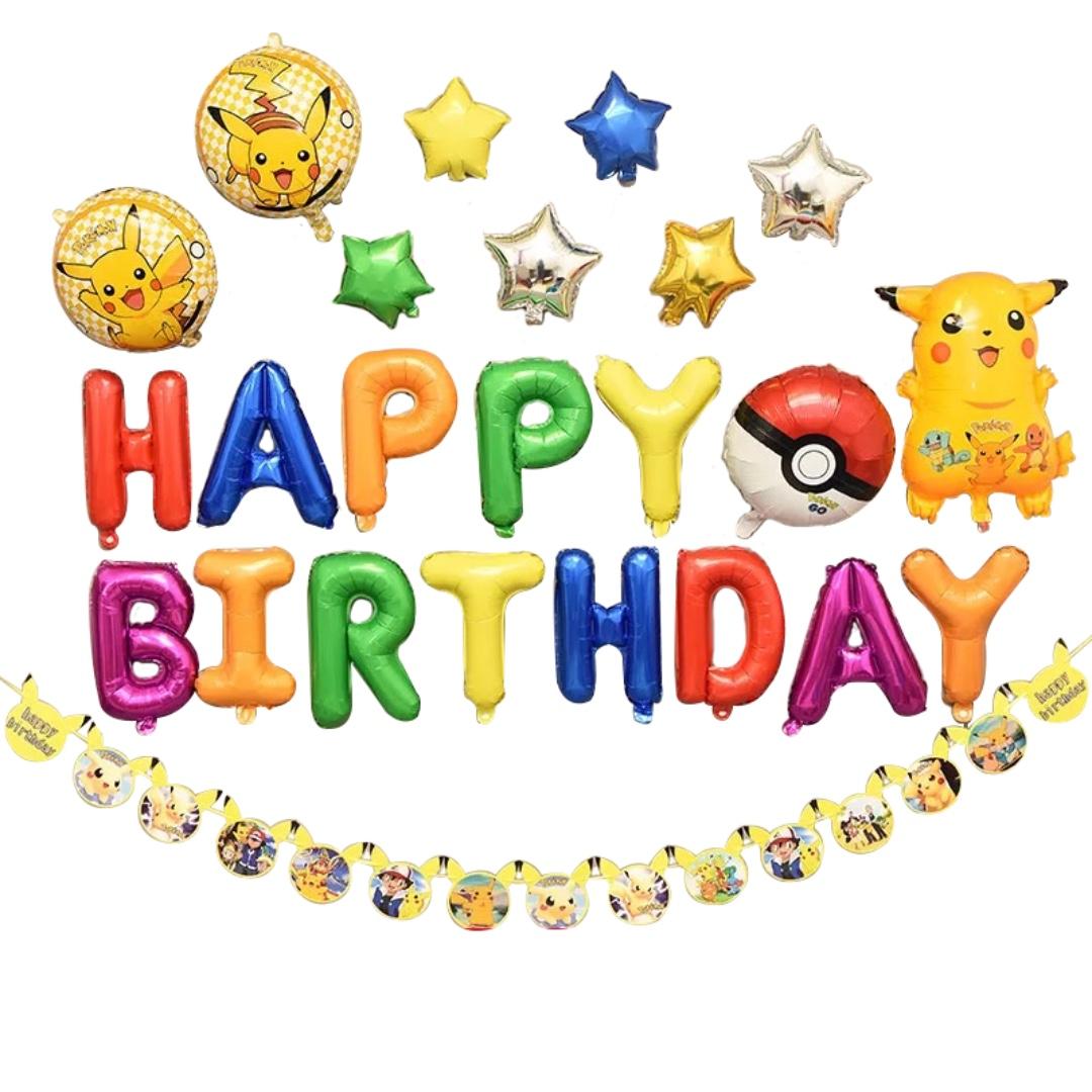 ad4c70078f420c Happy Birthday Balloon Set Pokemon Pikachu Anime, Design & Craft, Others on  Carousell