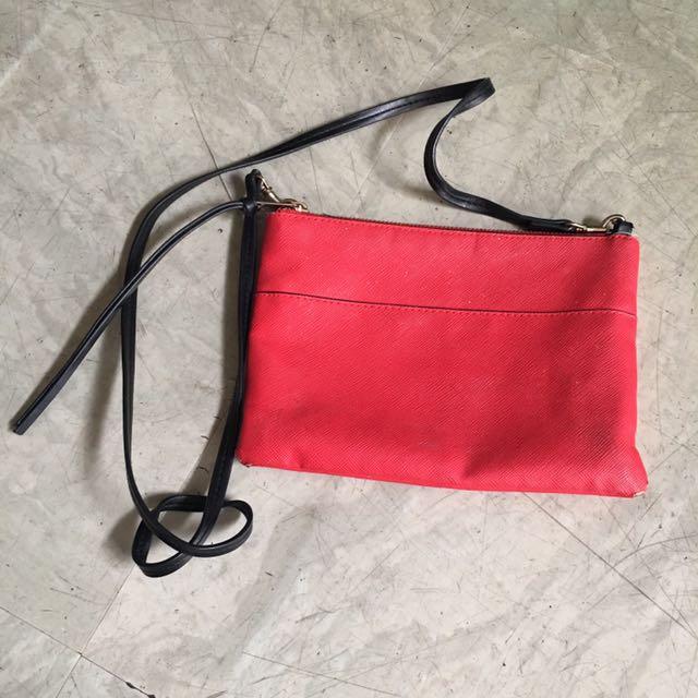 H&M 紅色斜背包