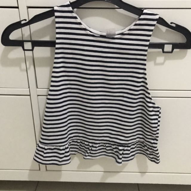 H&M crop top stripe