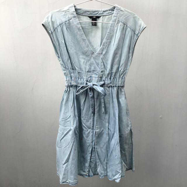H&M light blue denim dress
